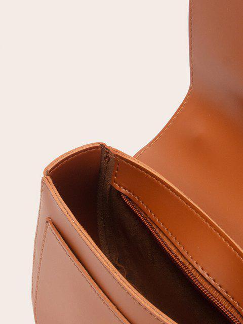 affordable Solid O-Ring Embellished Top Handle Crossbody Bag - LIGHT BROWN  Mobile