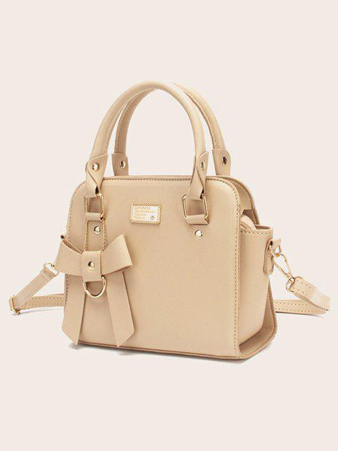 Solid Bowknot Embellished Buckle Strap Shoulder Bag - القهوة الخفيفة  Mobile
