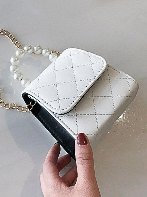 women Faux Pearl Quilted Flap Chain Mini Crossbody Bag - MILK WHITE  Mobile
