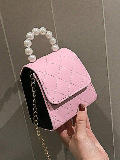 women's Faux Pearl Quilted Flap Chain Mini Crossbody Bag - PIG PINK  Mobile