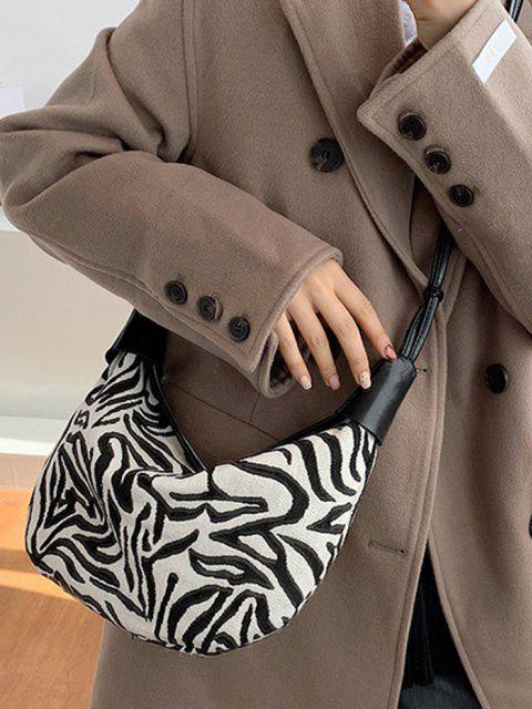 outfit Zebra Stripes Pattern Shoulder Bag - MILK WHITE  Mobile