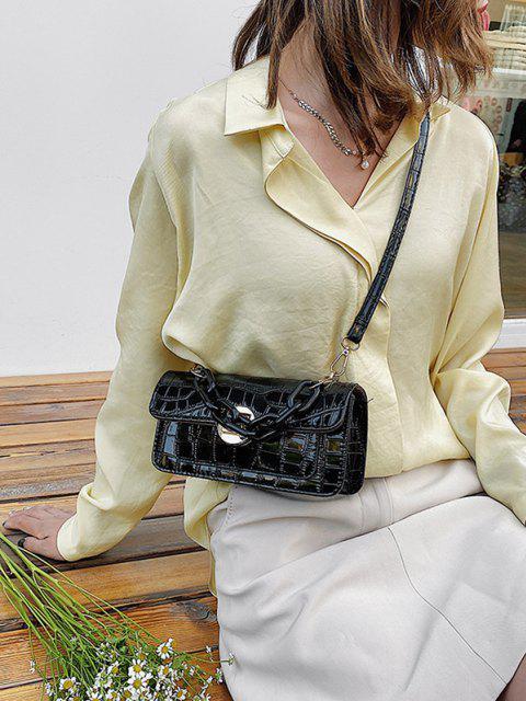 Retro Stone Grain Chunky Chain Mini Crossbody Bag - أسود  Mobile