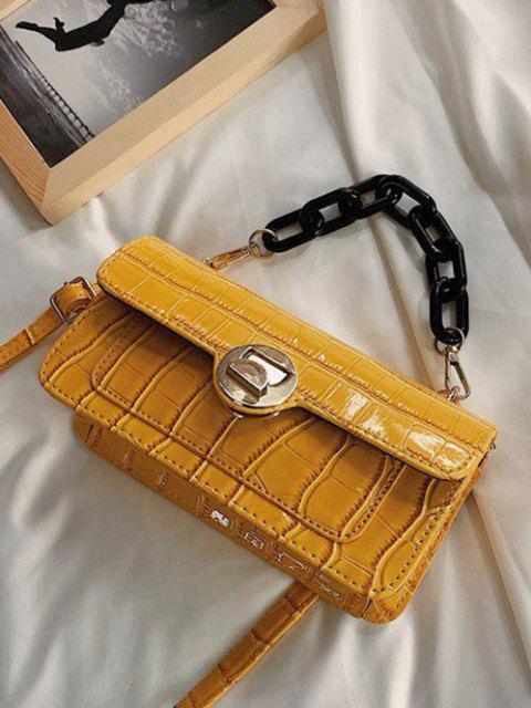 Mini Sac à Bandoulière avec Chaîne Épaisse Motif Planches en Pierre Style Rétro - Verge d'Or  Mobile