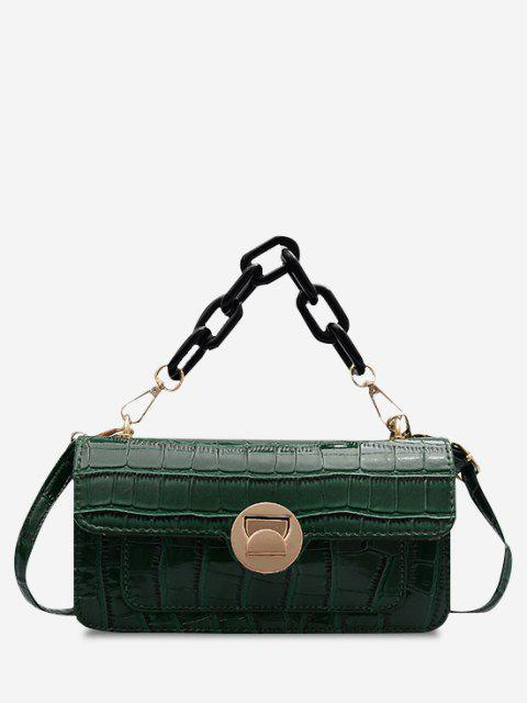 hot Retro Stone Grain Chunky Chain Mini Crossbody Bag - DEEP GREEN  Mobile
