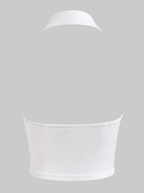 hot Halter Rib-knit Half Button Crop Top - WHITE M Mobile