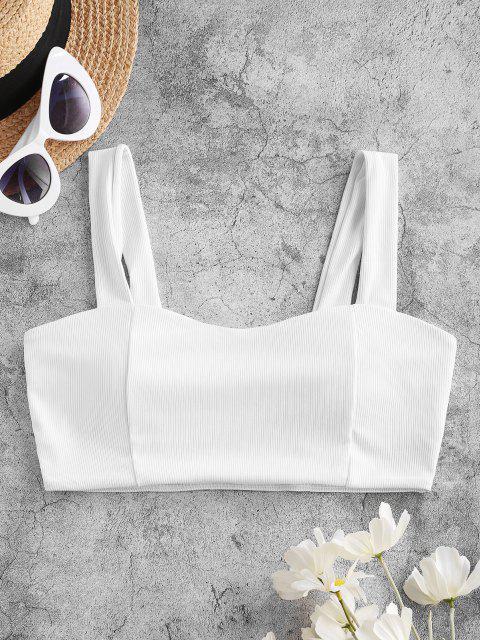 ZAFUL Ribbed Plain Bikini Top - أبيض S Mobile