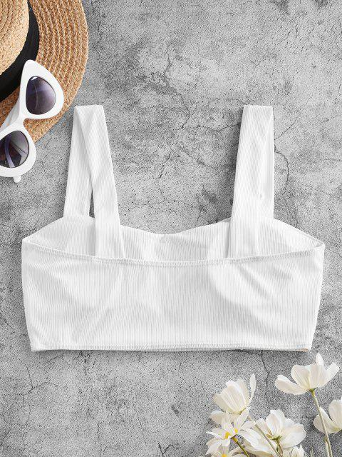 ZAFUL Haut de Bikini Simple Côtelé - Blanc L Mobile