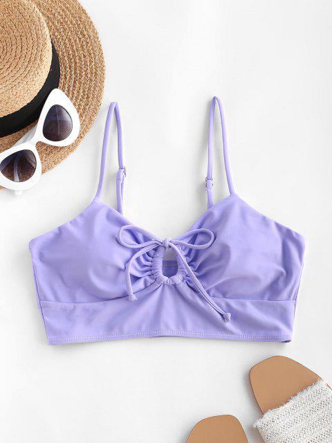 ZAFUL Solid Drawstring Cut Out Bikini Top - ضوء ارجواني S Mobile