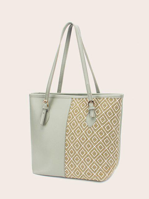 outfits Bowknot Rhombus Pattern Tote Bag - DARK SEA GREEN  Mobile