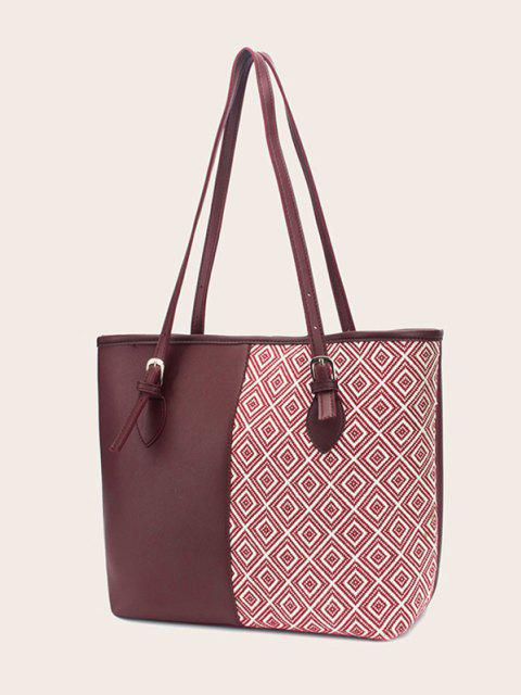 shop Bowknot Rhombus Pattern Tote Bag - RED WINE  Mobile