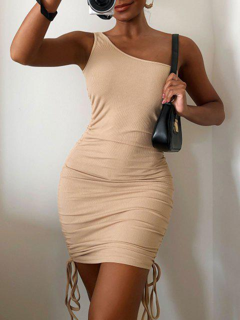 buy ZAFUL Ribbed Cinched One Shoulder Bodycon Dress - KHAKI L Mobile
