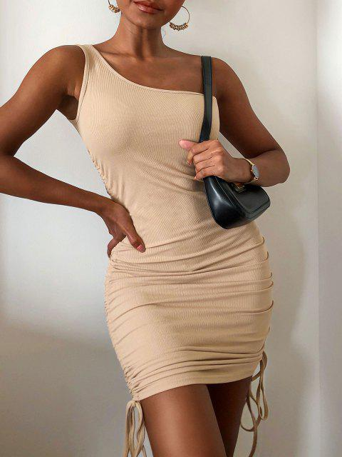 sale ZAFUL Ribbed Cinched One Shoulder Bodycon Dress - KHAKI M Mobile