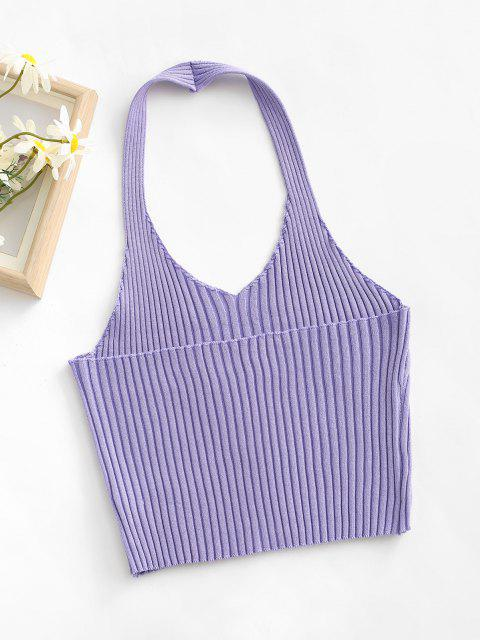 affordable Ribbed Halter Backless Slim Crop Top - LIGHT PURPLE ONE SIZE Mobile