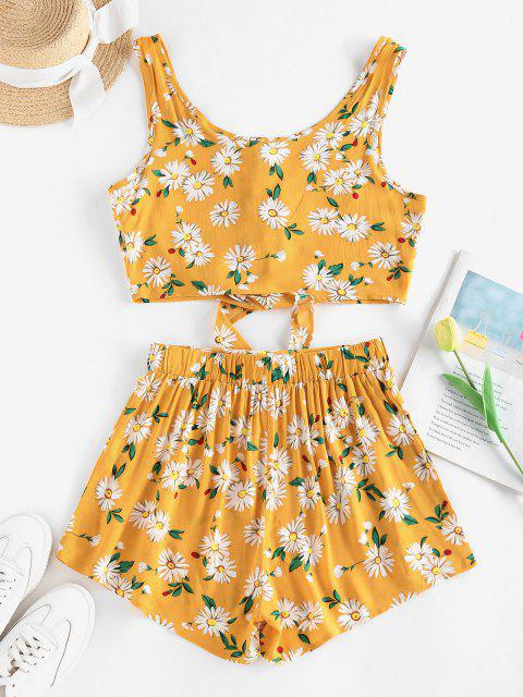 outfit ZAFUL Floral Button Up Tie Hem Wide Leg Shorts Set - DEEP YELLOW M Mobile