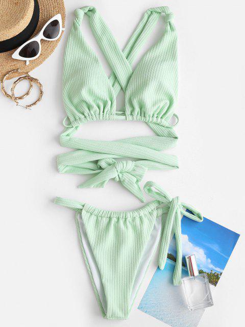 ZAFUL Costume da Bagno Bikini a Righe con Nodo - Verde chiaro S Mobile