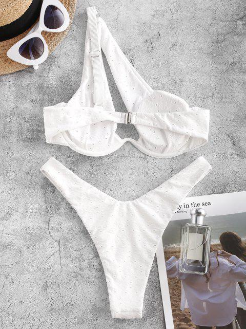 fashion ZAFUL Broderie Anglaise One Shoulder Cutout Bikini Swimwear - WHITE M Mobile