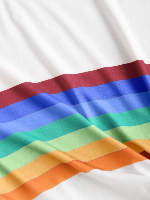 online Rainbow Striped Short Sleeves Crop Tee - ORANGE L Mobile