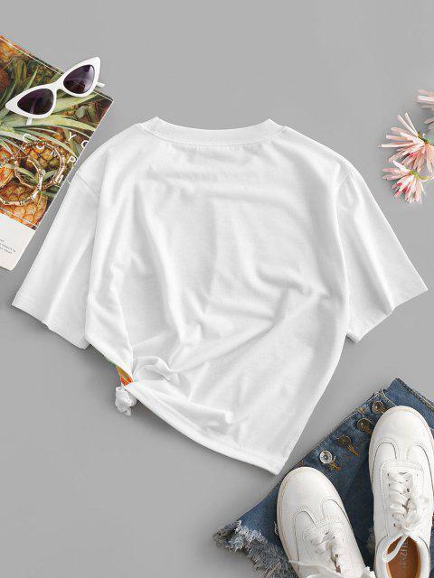 hot Rainbow Striped Short Sleeves Crop Tee - ORANGE M Mobile