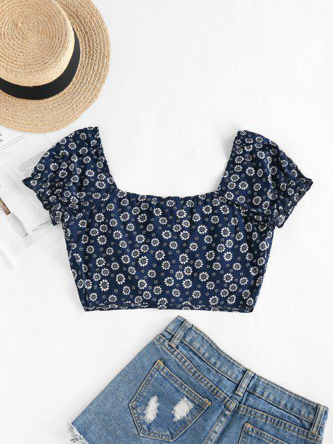 outfits ZAFUL Tiny Floral Crop Milkmaid Blouse - DEEP BLUE L Mobile