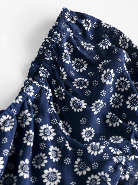 ZAFUL Winzige Blumen Crop Milkmaid Bluse - Tiefes Blau S Mobile