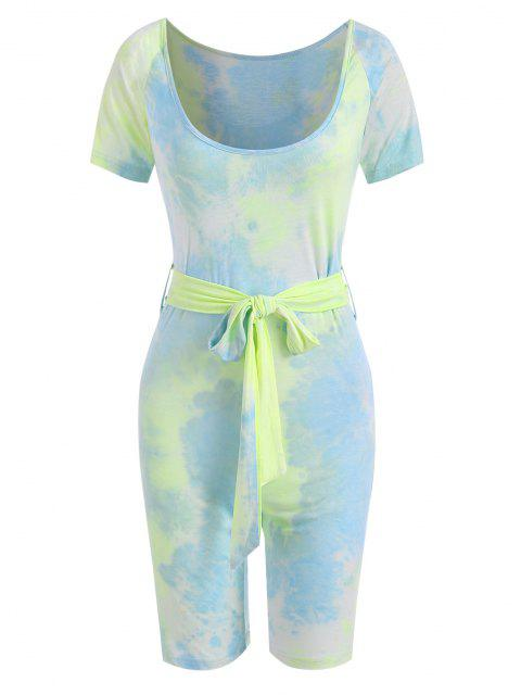 fashion Tie Dye Scoop Neck Belted Cycling Romper - LIGHT BLUE L Mobile