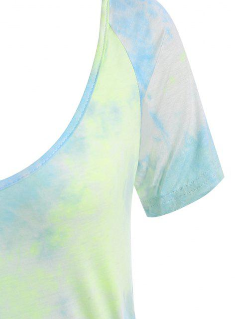 Krawattenfärbender Strampler mit U Ausschnitt und Gürtel - Hellblau S Mobile