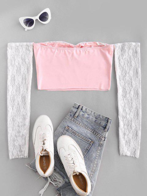 Top Barriga de Fora com Ombro Caído e Laço Cortado - Luz rosa M Mobile