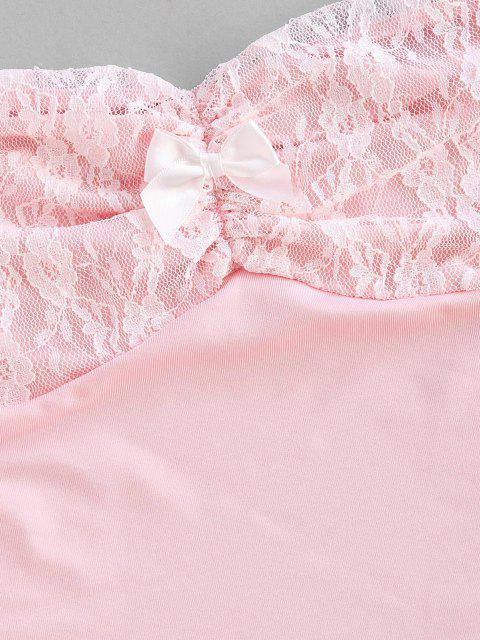 best Off The Shoulder Lace Panel Raw Hem Crop Top - LIGHT PINK L Mobile