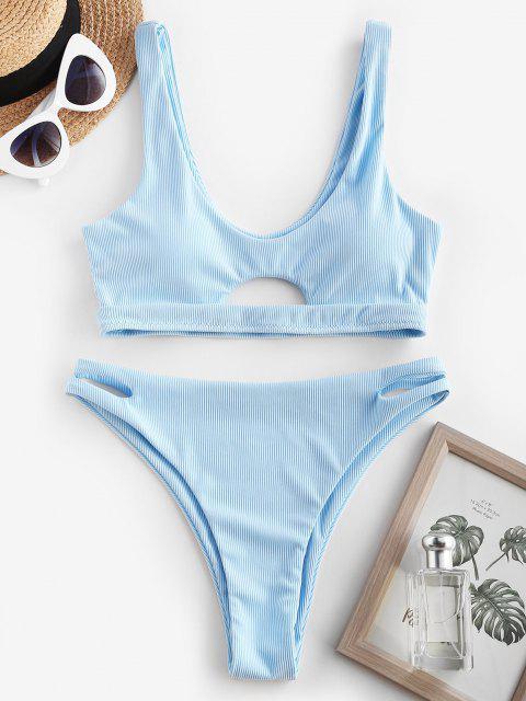 outfits ZAFUL Ribbed Cutout High Leg Underboob Bikini Swimwear - LIGHT BLUE M Mobile