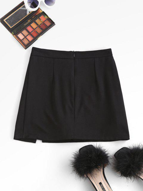 affordable Slit Skirt with Shorts Underneath - BLACK S Mobile