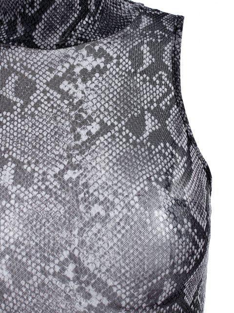 best Snakeskin Mesh Mock Neck Sleeveless Bodysuit - GRAY S Mobile