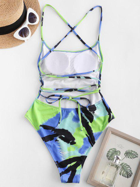 womens ZAFUL Tie Dye Ribbed Lace Up Backless One-piece Swimsuit - MULTI S Mobile