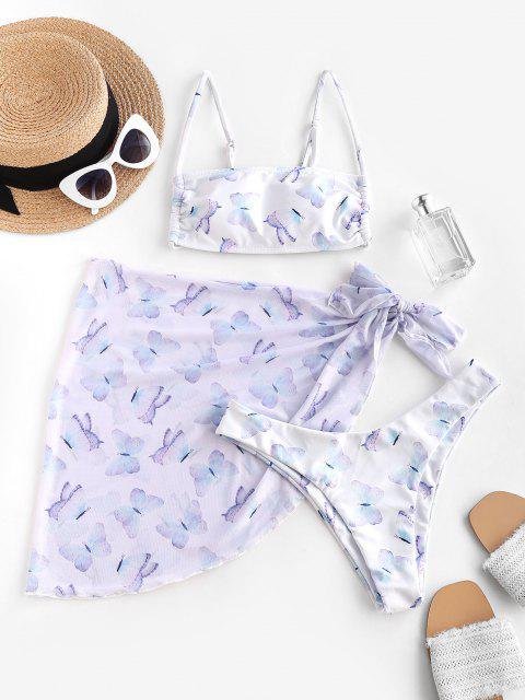 shops ZAFUL Mesh Butterfly Print High Leg Three Piece Bikini Swimwear - WHITE M Mobile