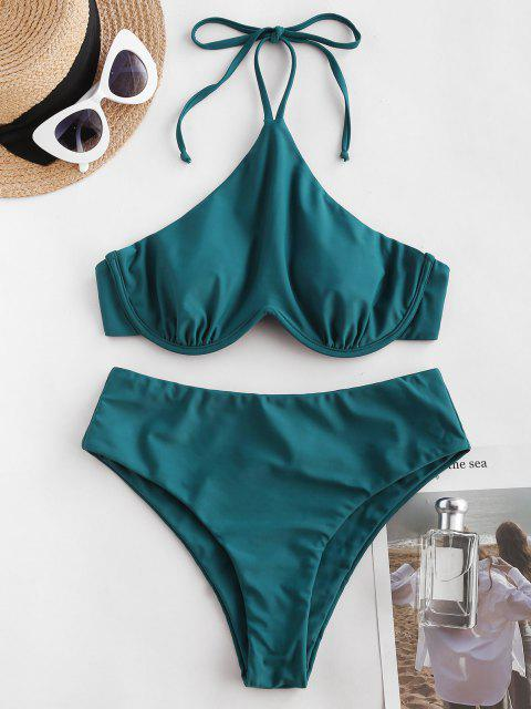 buy ZAFUL Halter W-wired High Waisted Tankini Swimwear - BLUE L Mobile