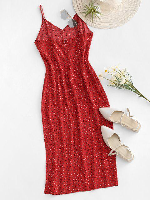 outfits Ditsy Print Slit Midi Dress - RED M Mobile