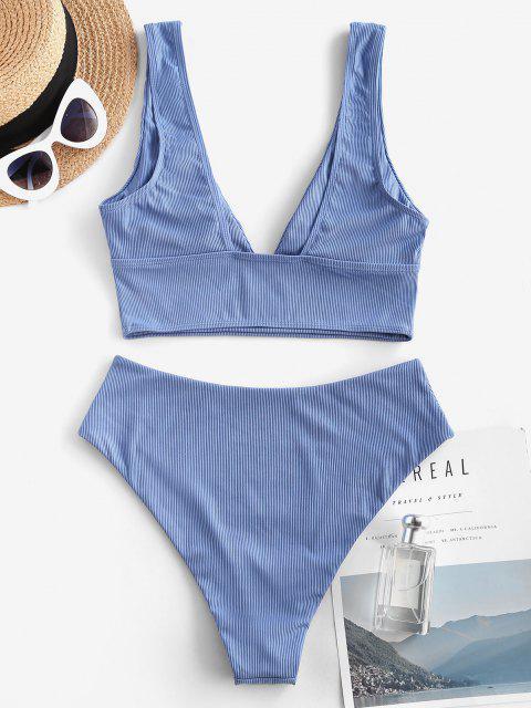 ZAFUL Maillot de Bain Tankini Simple Côtelé Plongeant - Bleu L Mobile