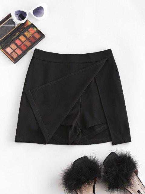 shops Slit Skirt with Shorts Underneath - BLACK L Mobile