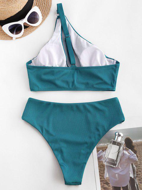 ZAFUL Badebekleidung mit Geripptem Ausschnitt und Einziger Schulter - Blau S Mobile