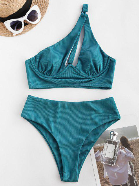 hot ZAFUL Ribbed Cutout One Shoulder Underwire Tankini Swimwear - BLUE XL Mobile