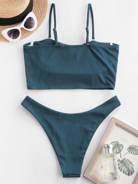 shop ZAFUL Ribbed Underwire High Leg Tankini Swimwear - DEEP GREEN M Mobile