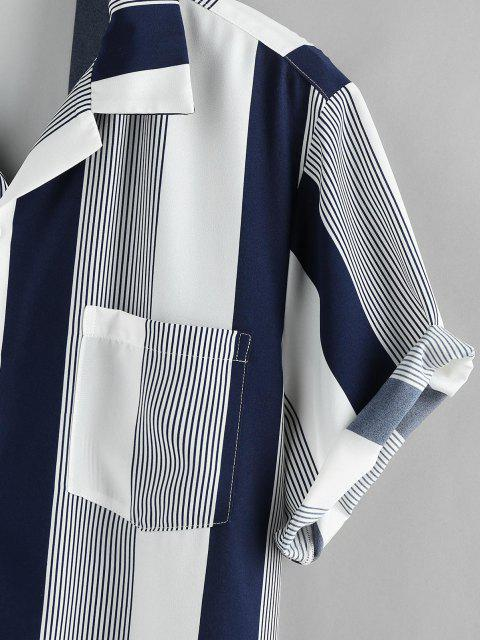 fashion ZAFUL Button Up Striped Print Pocket Shirt - DEEP BLUE L Mobile