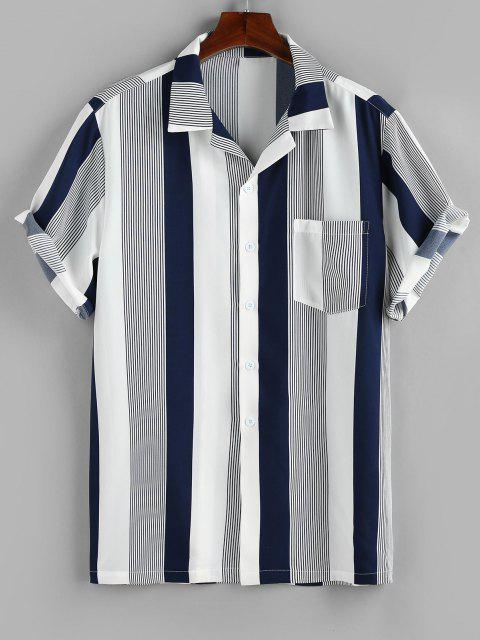 shop ZAFUL Button Up Striped Print Pocket Shirt - DEEP BLUE S Mobile