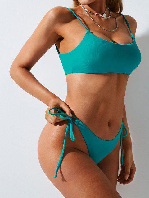 women ZAFUL Ribbed Tie Side Cami Bikini Swimwear - LIGHT BLUE M Mobile