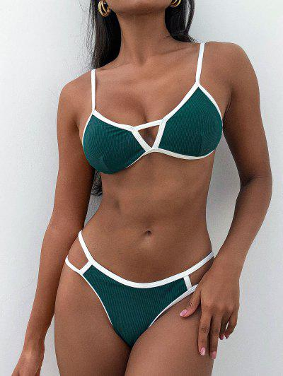 ZAFUL Ribbed Cutout Thong Ringer Bikini Swimwear - Deep Green M