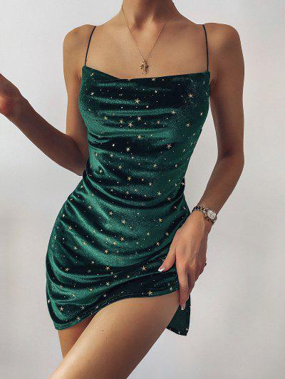 Stars Side Slit Cowl Front Velvet Dress - Green L