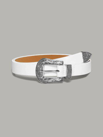 Solid Retro Carved Flower Buckle Belt - White