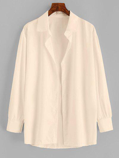 Button Up Drop Shoulder Plain Shirt - Light Coffee M