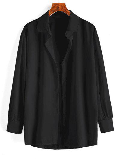 Button Up Drop Shoulder Plain Shirt - Black L
