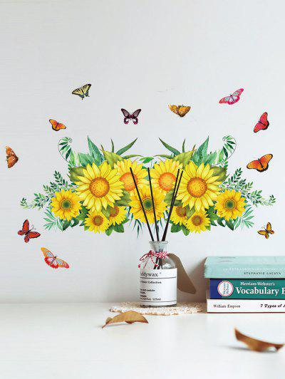 Sunflower Butterfly Pattern Removable Wall Stickers - Multi-a 30x60cm