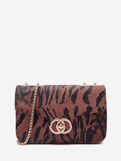 Zebra Print Textured Convertible Chain Crossbody Bag - Chestnut
